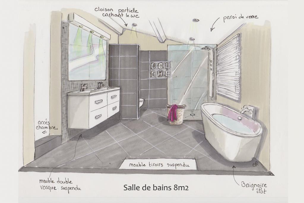 salle-bain-paroi-verre DM Ceramica Carrelage Loire Haute-Loire